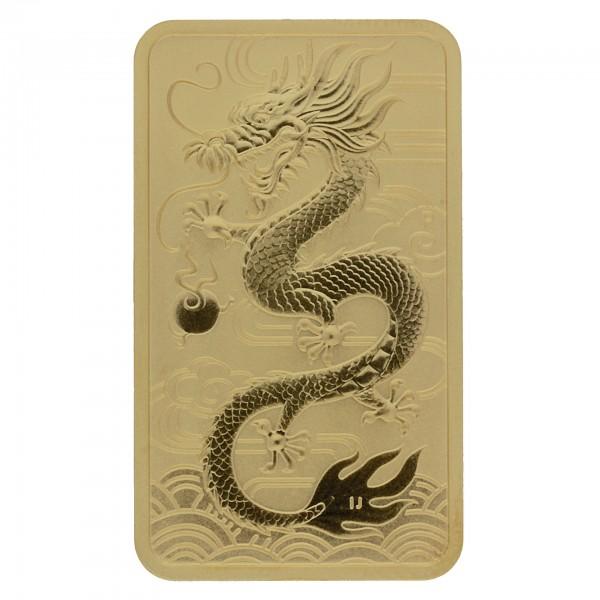 1 oz Australien 2018 Rectangular Dragon 1 Unze 999,9 Goldmünze