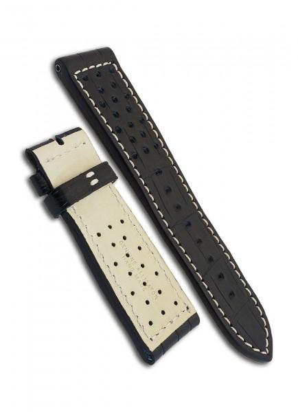 Armand Nicolet Uhrenarmband Alligator Schwarz 24mm/22mm