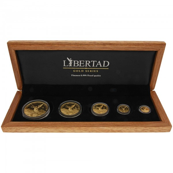 19 Oz Goldmünzen Set Mexiko 2015 Libertad Polierte Platte 5 Münzen Im Etui