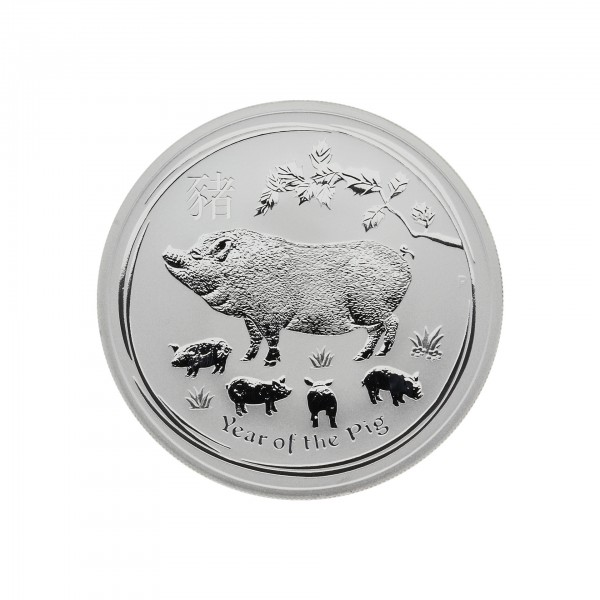 "1 oz Australien 2019 Lunar II Serie ""Year of the Pig"" (Schwein) 1 Unzen 999 Silber"