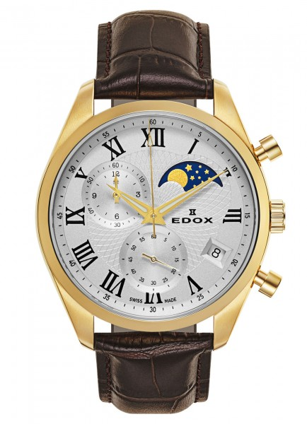 Edox Les Vauberts Chronograph Mondphase Datum Quarz 01655 37J ARD