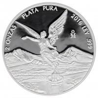 2 oz Silbermünze Mexiko 2016 PP Libertad Siegesgöttin - Polierte Platte 2 Unzen 999 Silber