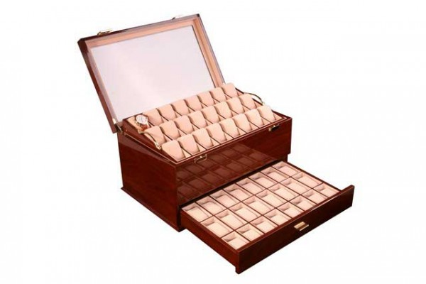 Uhrenbox für 72 Uhren / MAHAGONI mit Fenster Dreambox 411