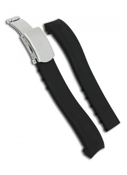 Claude Bernard Uhrenarmband Kautschuk Schwarz 22mm/19mm mit Faltschließe