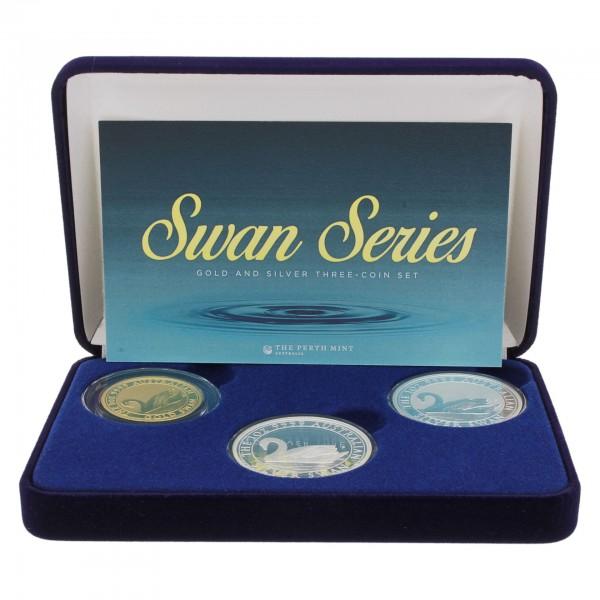 """2017 Australien 3 Münzen Set """"Australian Swan"""" - 1x Gold 1x Silber PP 1x Silber BU"""