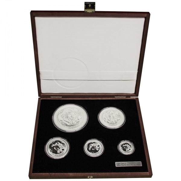 "18,5 Unzen Lunar II Set 2012 ""Year of the Dragon"" (Drache) 5 Münzen (1/2 Unze bis 10 Unzen)"