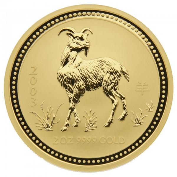 "2 oz Australien 2003 Lunar Serie I ""Year of the Goat "" (Ziege) 2 Unzen 999,9 Goldmünze"