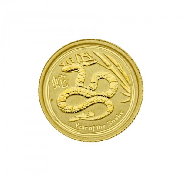 "1/20 oz Australien 2013 Lunar Serie II ""Year of the Snake"" (Schlange) Goldmünze"
