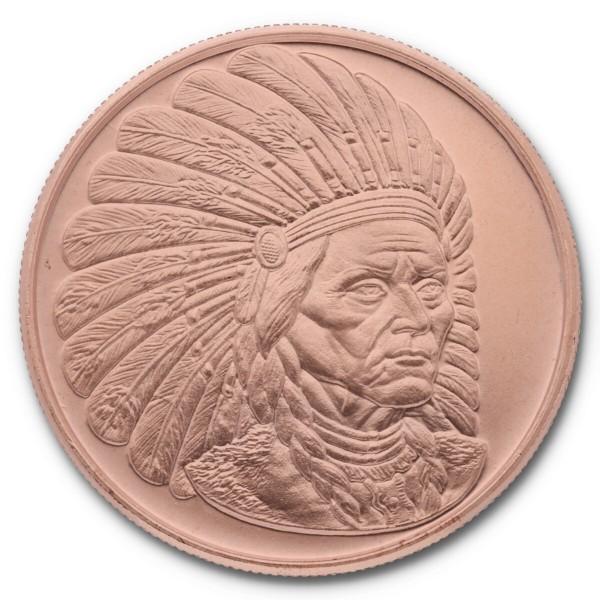"""1 Unze (AVDP) .999 fein Kupfer """"American Indian Series - Sitting Bull"""""""