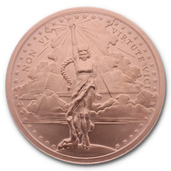 "1 Unze (AVDP) .999 fein Kupfer ""Non Vi Virtute Vici / Silver Shield"""