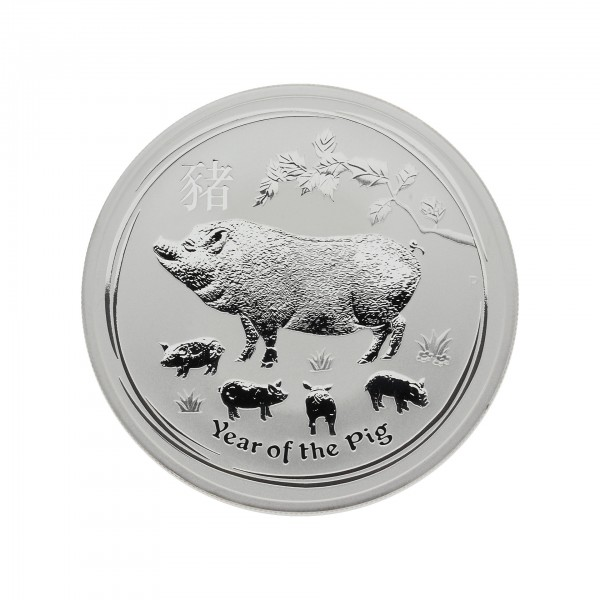 "2 oz Australien 2019 Lunar II Serie ""Year of the Pig"" (Schwein) 2 Unzen 999 Silber"