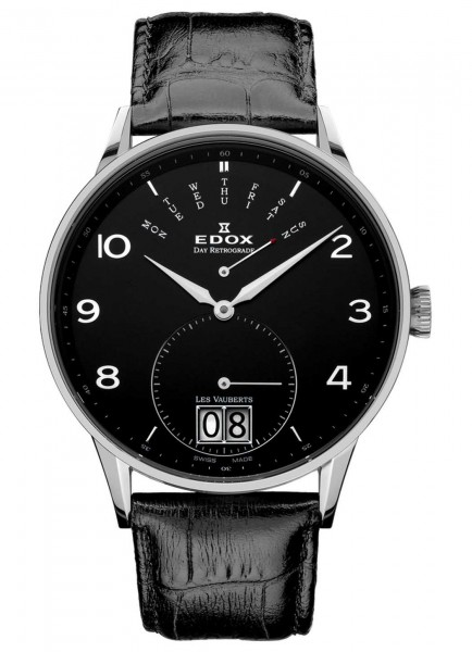 Edox Les Vauberts Day Retrograde Großdatum 34005 3N NBN