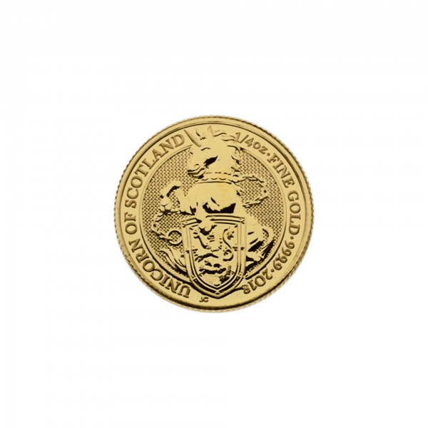 "1/4 oz England 2018 The Queens Beasts ""Unicorn"" 25 GBP 999,9 Goldmünze"
