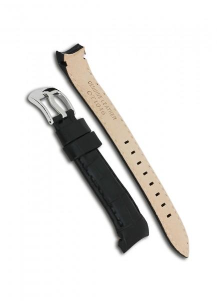 Officina del Tempo OT1046 Uhrenarmband Leder Schwarz 22mm/19mm mit Dornschließe