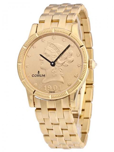 Corum Golduhr 10$ Münze mit 18kt Goldband- 049-357-56-M500 MU36