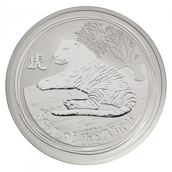 "2 oz Australien 2010 Lunar II ""Year of the Tiger"" (Tiger) 2 Unzen 999 Silber"