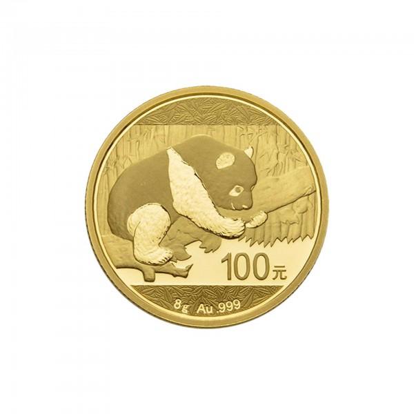"""8 g China 2016 """"Panda"""" 100 CNY Goldmünze 999/1000 Gold (in Hersteller Folie)"""