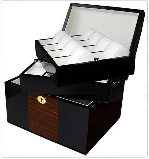 Uhrenbox für 16 Uhren / Schwarz-Braun - 7617