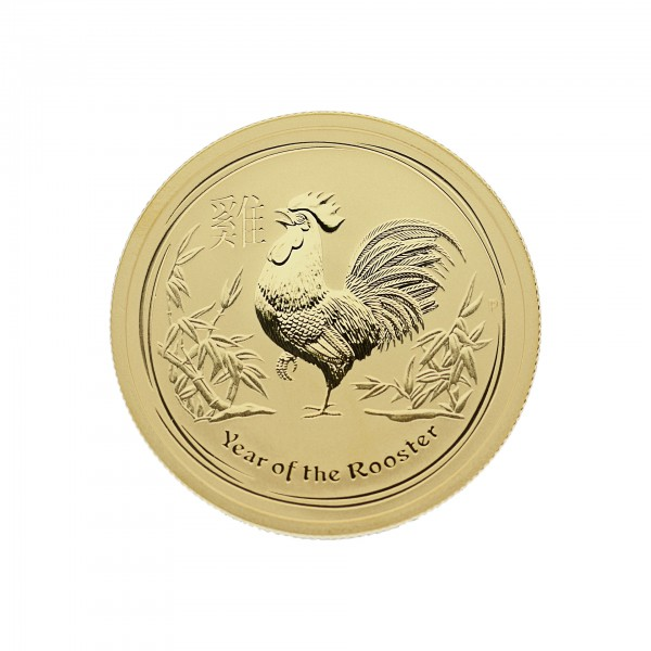 "1/2 oz Australien 2017 Lunar II ""Year of the Rooster"" (Hahn) 0,5 Unzen 999,9 Gold"