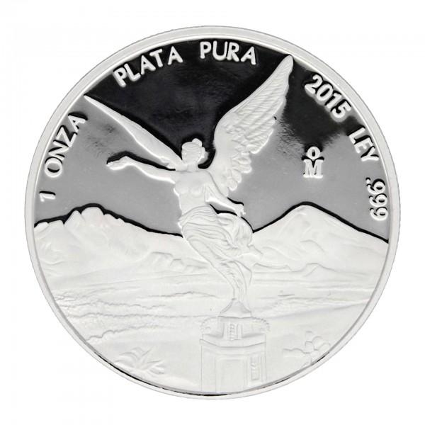 1 oz Mexiko 2015 Libertad Siegesgöttin Polierte Platte 1 Unze 999 Silber