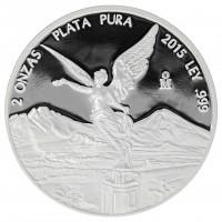 2 oz Silbermünze Mexiko 2015 PP Libertad Siegesgöttin - Polierte Platte 2 Unzen 999 Silber