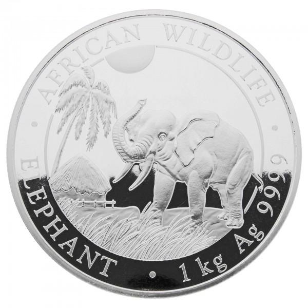 1 Kg Somalia 2017 African Wildlife Elefant 1 Kilo 999,9 Silber