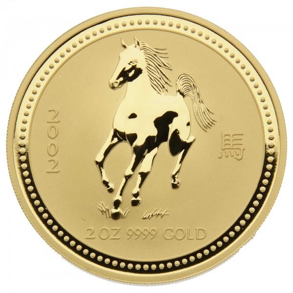 "2 oz Australien 2002 Lunar Serie I ""Year of the Horse"" (Pferd) 2 Unzen 999,9 Goldmünze"