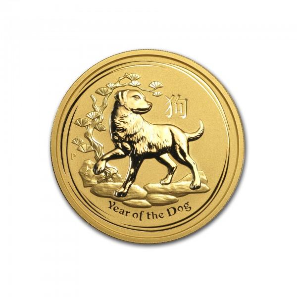 "2 oz Australien 2018 Lunar II ""Year of the Dog"" (Hund) 2 Unze 999,9 Goldmünze"