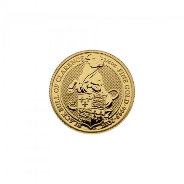 "1/4 oz England 2018 The Queens Beasts ""Black Bull"" 25 GBP 999,9 Goldmünze"