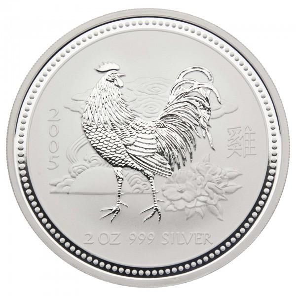 "2 oz Australien 2005 Lunar I ""Year of the Rooster"" (Hahn) 2 Unzen 999 Silber"