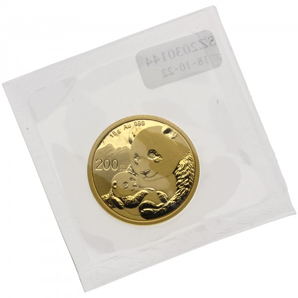 "15 g China 2019 ""Panda"" 200 CNY Goldmünze 999/1000 Gold (in Hersteller Folie)"
