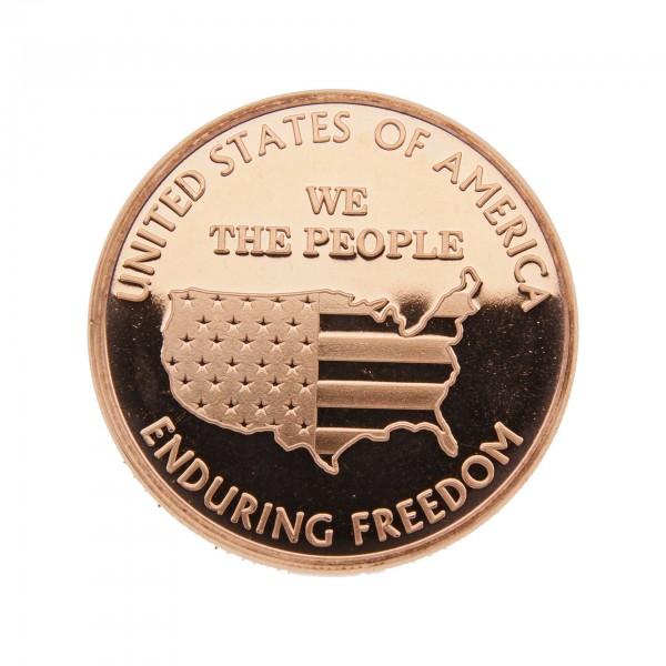 """1 Unze (AVDP) .999 fein Kupfer """"Enduring Freedom"""" Map"""