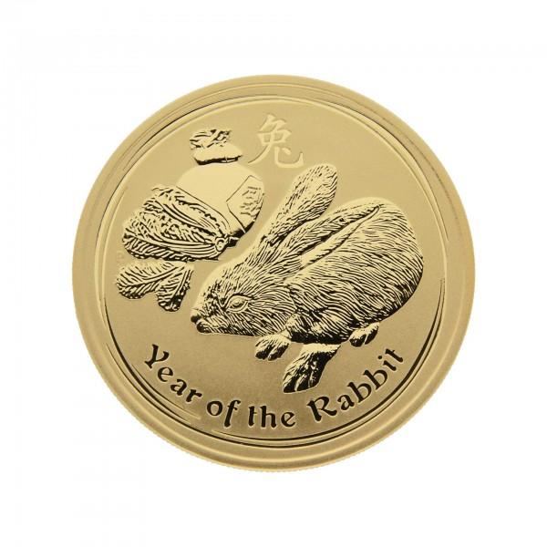 "1 oz Australien 2011 Lunar II ""Year of the Rabbit"" (Hase) 100 Dollar 999,9 Goldmünze"