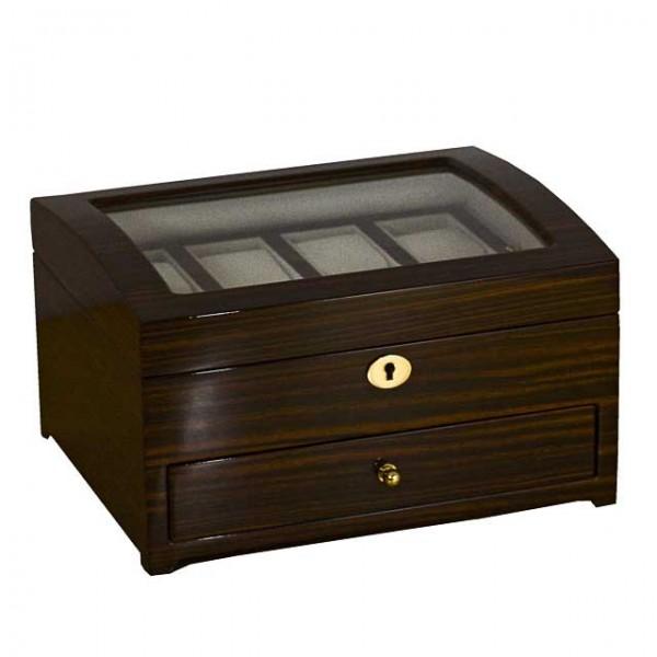 Uhrenbox für 8 Uhren & Schmuck / MAKASSAR mit Fenster - 7117GM