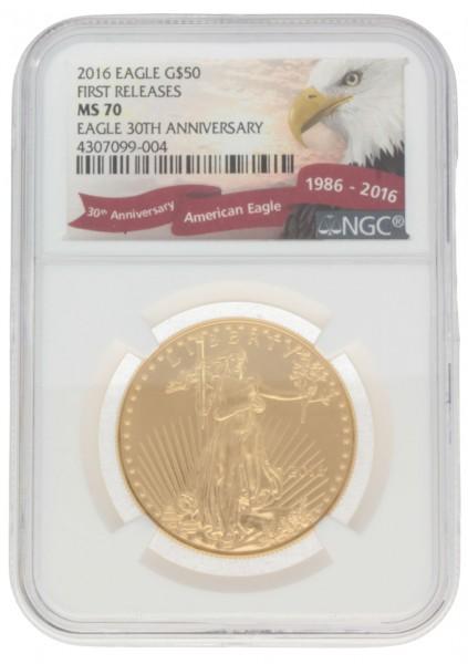 "1 oz USA 2016 ""American Eagle"" Goldmünze NGC Certified MS-70"