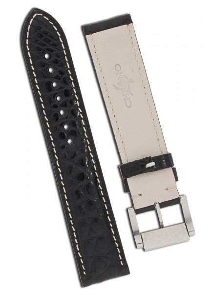 Eberhard & Co. Chrono 4 Lederband (schwarz) mit Dornschließe