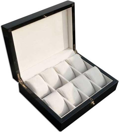 Uhrenbox für 8 Uhren / Schwarz/BRAUN - 7585