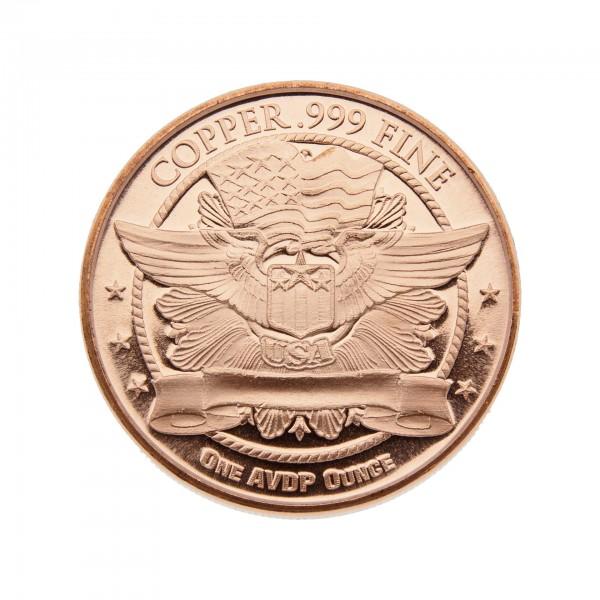 1 Unze (AVDP) .999 fein Kupfer - 1 Stück nach Verfügbarkeit