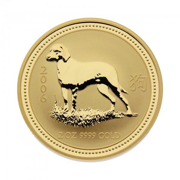 "2 oz Australien 2006 Lunar Serie I ""Year of the Dog"" (Hund) 2 Unzen 999,9 Goldmünze"