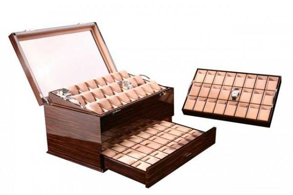 Uhrenbox für 72 Uhren / MAKASSAR mit Fenster - Dreambox 111