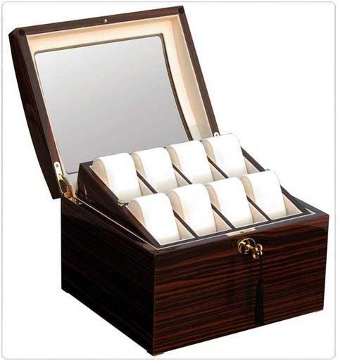 Uhrenbox für 16 Uhren / MAKASSAR mit Fenster - 7612