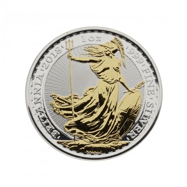 1 oz England 2018 Britannia 1 Unze 999,9/1000 Silbermünze - teilvergoldet