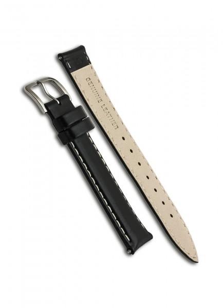 Uhrenarmband Leder Schwarz 19mm/17mm mit Dornschließe