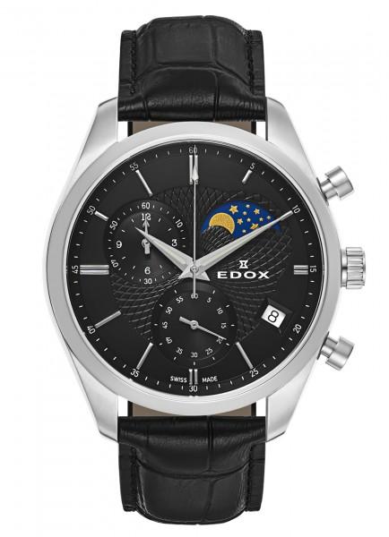 Edox Les Vauberts Chronograph Mondphase Datum Quarz 01655 3 NIN