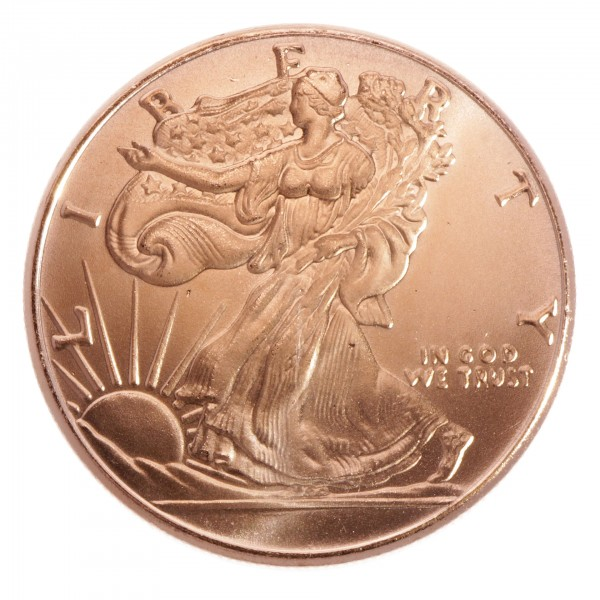 "1 Unze /AVDP) .999 fein Kupfer ""Walking Liberty"""