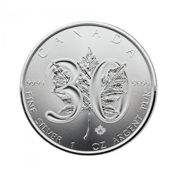 """1 oz Kanada 2018 Jubiläumsausgabe 30 Jahre """"Maple Leaf"""" 5 CAD 999,9/1000 Silber"""