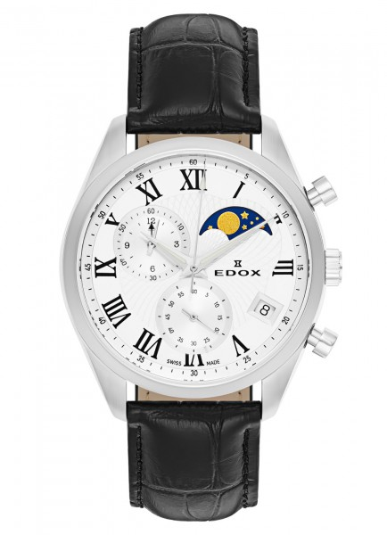 Edox Les Vauberts Chronograph Mondphase Datum Quarz 01655 3 ARN