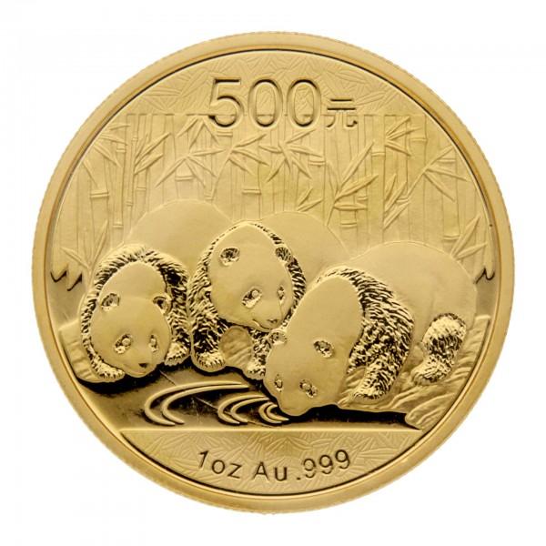 """1 oz China 2013 """"Panda"""" 500 CNY Goldmünze 999/1000 Gold (in Hersteller Folie)"""