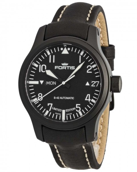 Fortis B-42 Flieger Black Automatic Day/Date Limited Edition 655.18.91 L.01