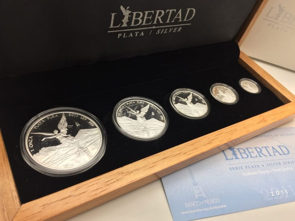 2011 Mexico 5 Coin Silver Libertad Proof Set 1 9 Oz Wood